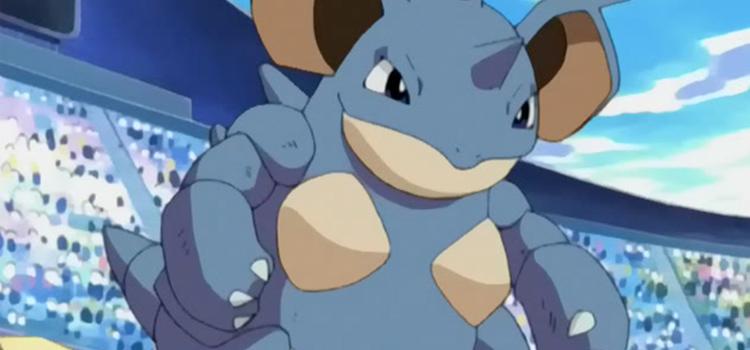 Nidoqueen battle pose in the Pokemon anime