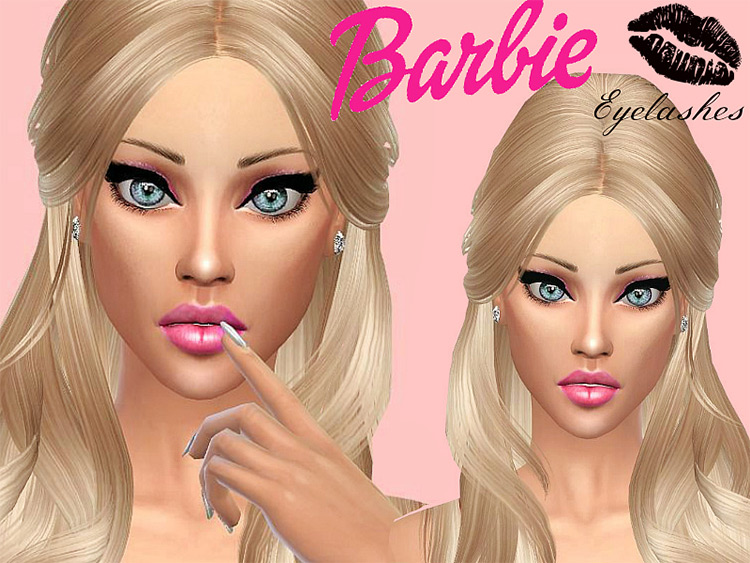 Barbie Eyelashes + Eyeliner Sims 4 CC