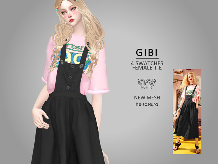 GIBI Overalls with Tee for Sims 4