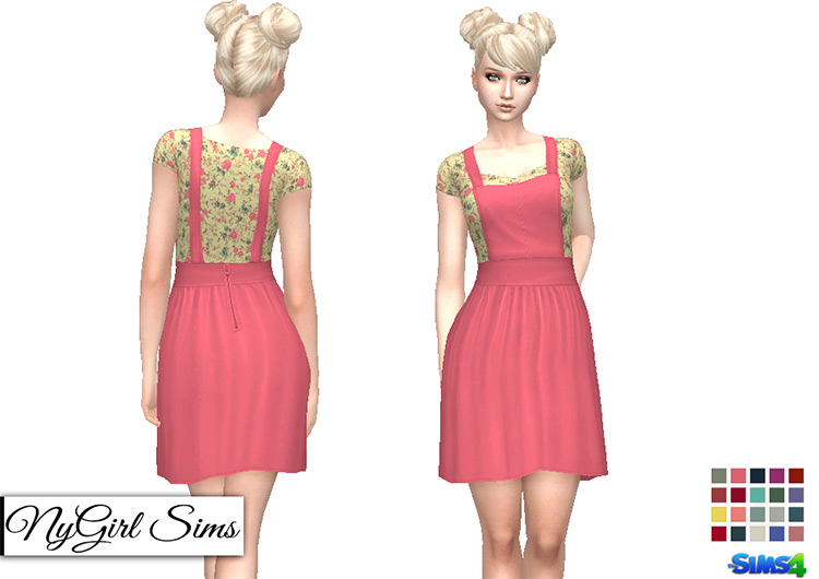 Overall Dress with Floral Tee TS4 CC