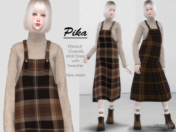 PIKA Overalls with Sweater Sims 4 CC