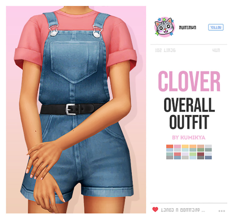 Clover Overalls Outfit for Sims 4