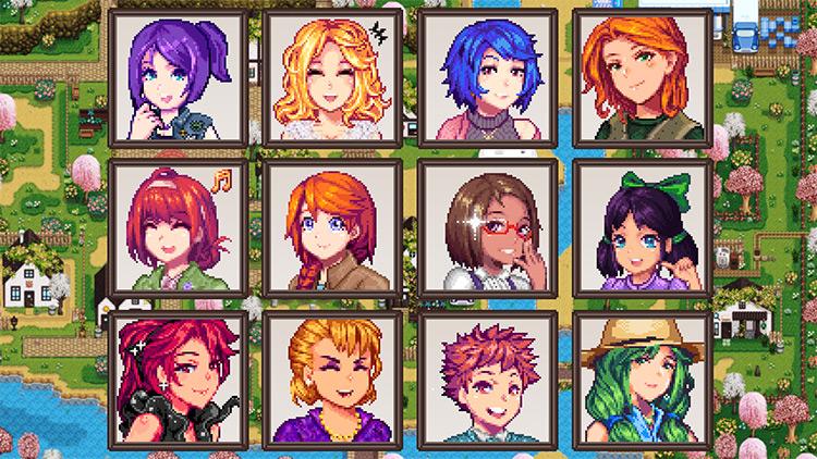 Seasonal Anime Portraits II in Stardew Valley