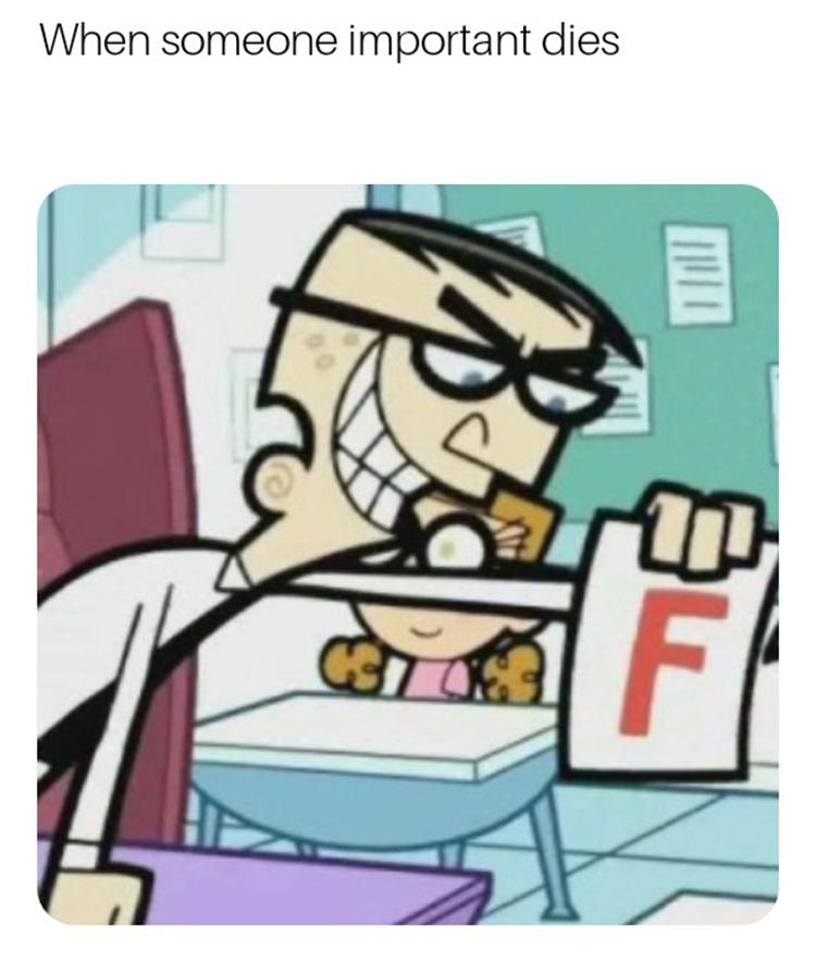 Crocker F with someone dies meme