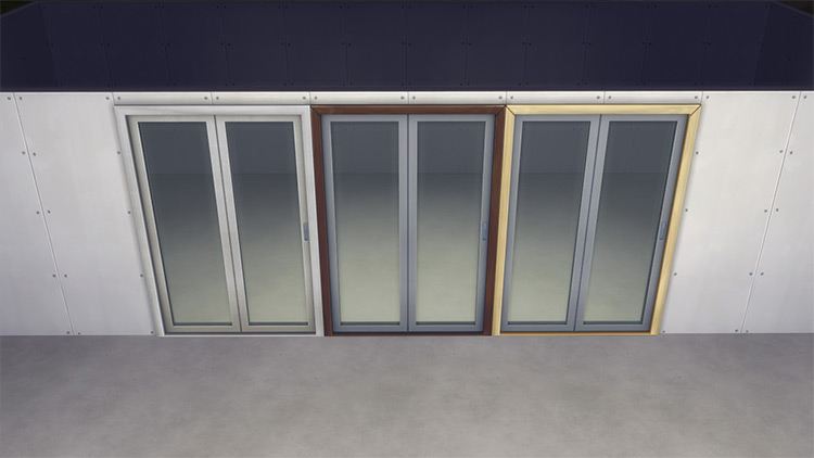 Folding Steel Glass Door – Functional Folding Door by AshenSeaced for Sims 4