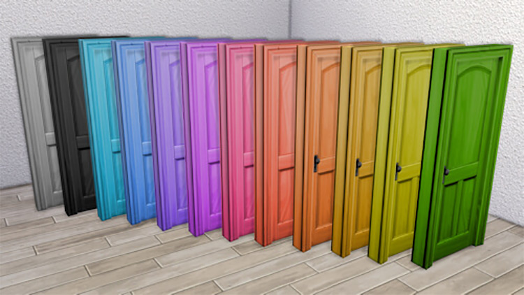 Wooden Three-Panel Door, Colored by LaLunaRossa Sims 4 CC