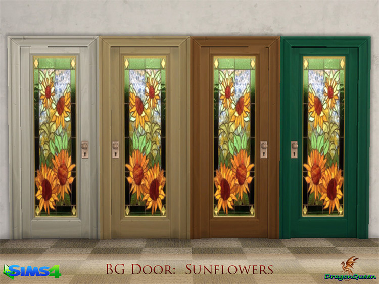 Door Set: Poppy & Sunflowers by DragonQueen Sims 4 CC