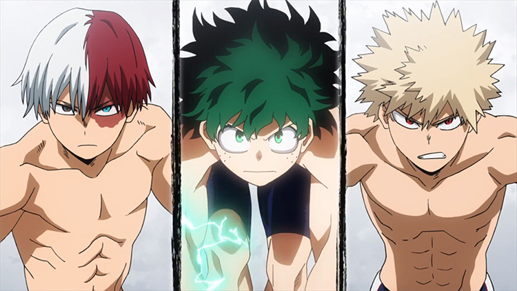 Fanservice guys without shirts BNHA