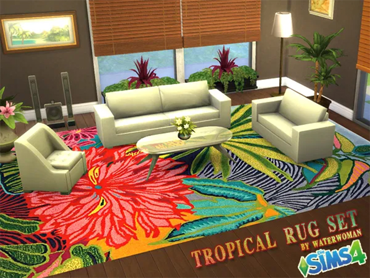 Tropical Rugs CC pack for Sims 4