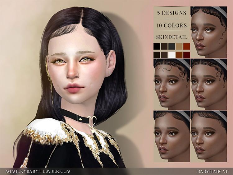 Mimilky Babyhair N1 by Daerilia Sims 4 CC screenshot