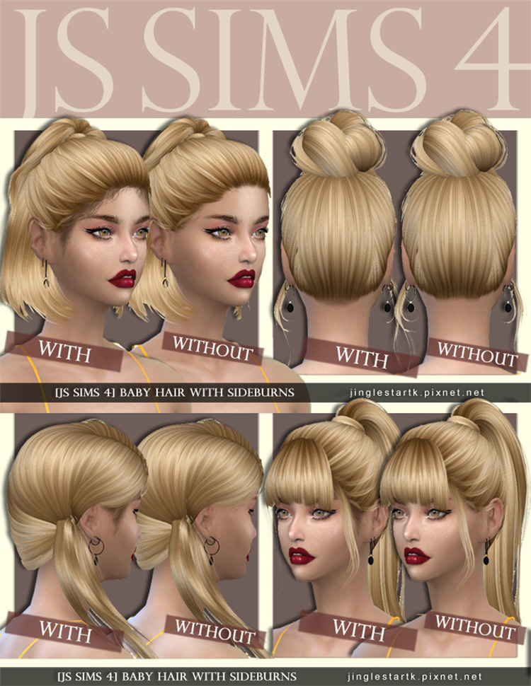 Baby Hair With Sideburns by JS Sims 4 Sims 4 CC
