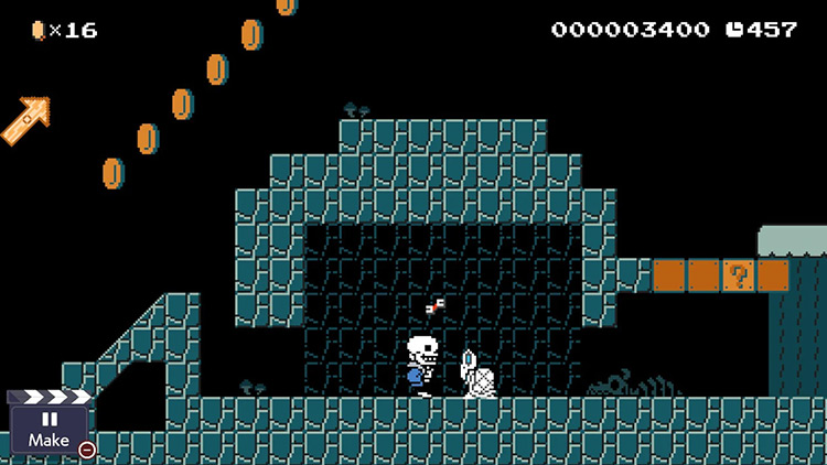 Sans over Mario SMB1 in Super Mario Maker 2