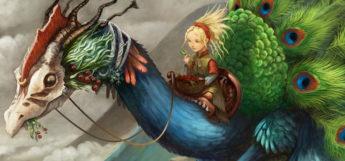 Peacock Dragon concept digital painting