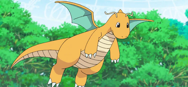 Dragonite flying in the Pokemon anime