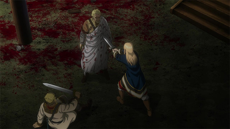 Canute Realizes Askeladd's Intentions scene in Vinland Saga