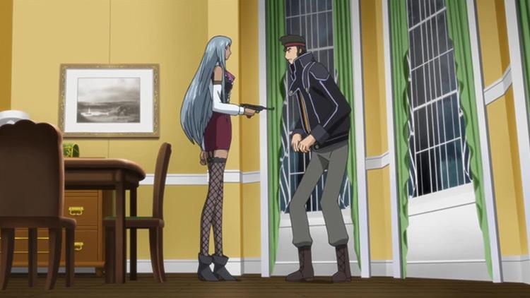 Villeta Nu Shoots Kaname Ohgi in Code Geass: Lelouch of the Rebellion