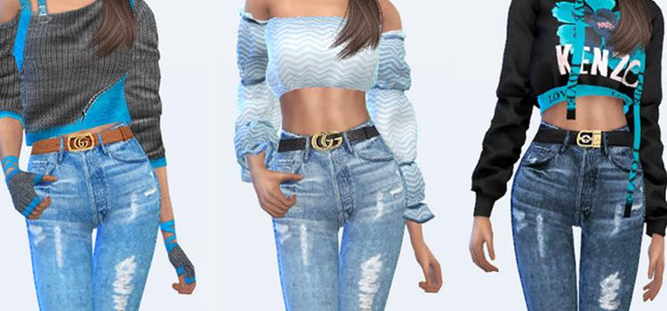 TS4 Gucci custom belts CC