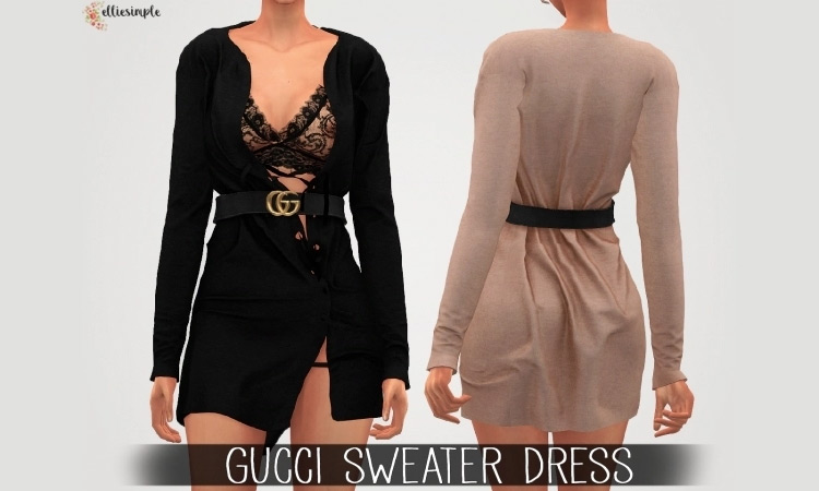 Gucci Sweater Dress for Sims 4