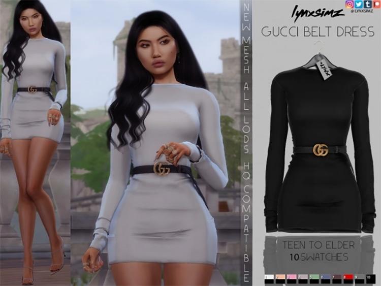 Gucci Belt Dress Sims 4 CC