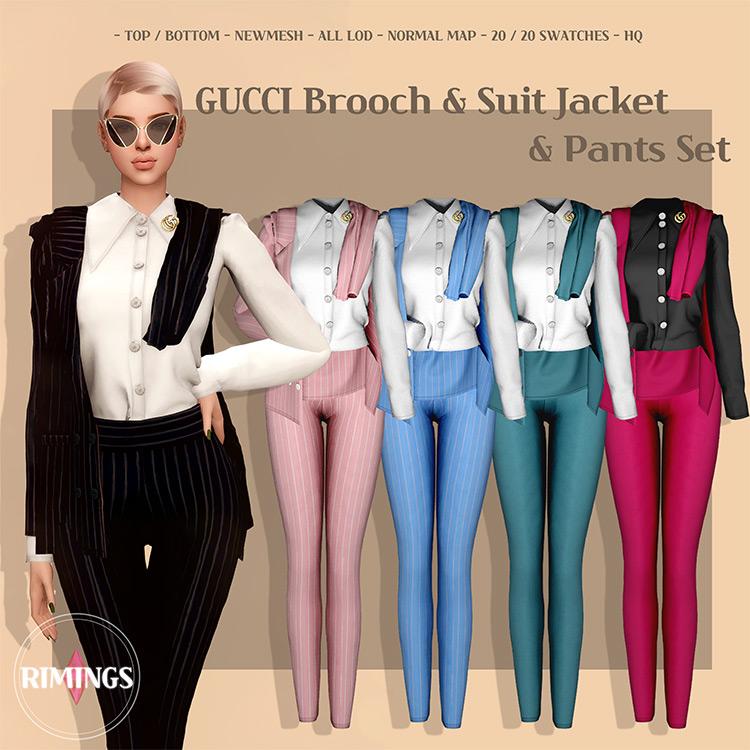 GUCCI Brooch & Suit Jacket & Pants Set Sims 4 CC