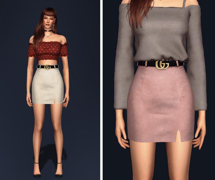 Belted Basic Skirt Sims 4 CC