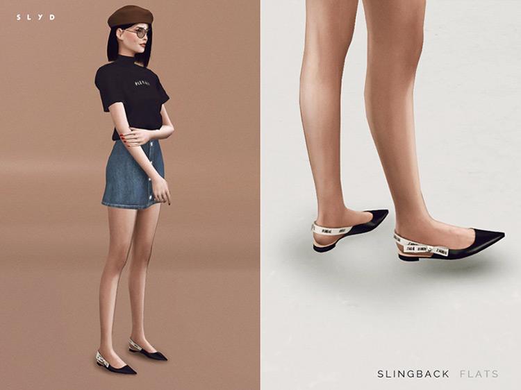 Slingback Flats Sims 4 CC