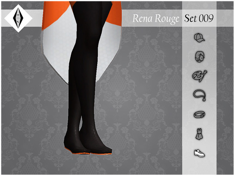 Rena Rouge Set 009 Flats for Sims 4