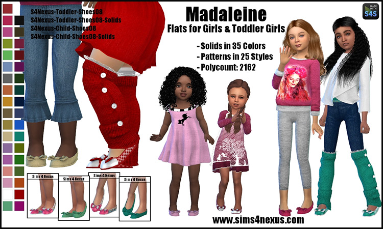 Madaleine Flats for Girls & Toddler Girls TS4 CC