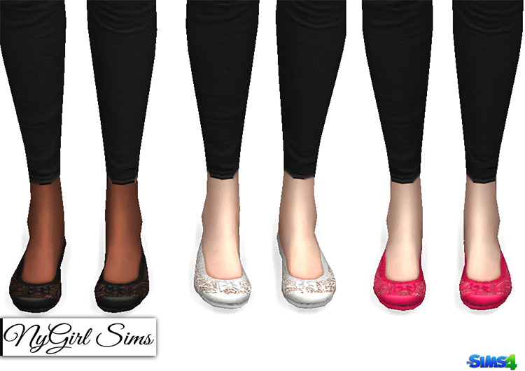 Lace and Bow Ballet Flats Sims 4 CC