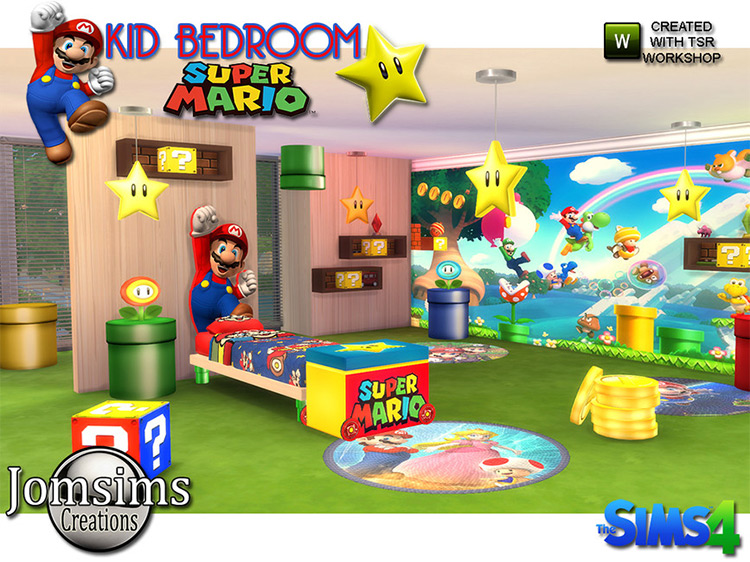 Super Mario Kids Bedroom Set Sims 4 CC