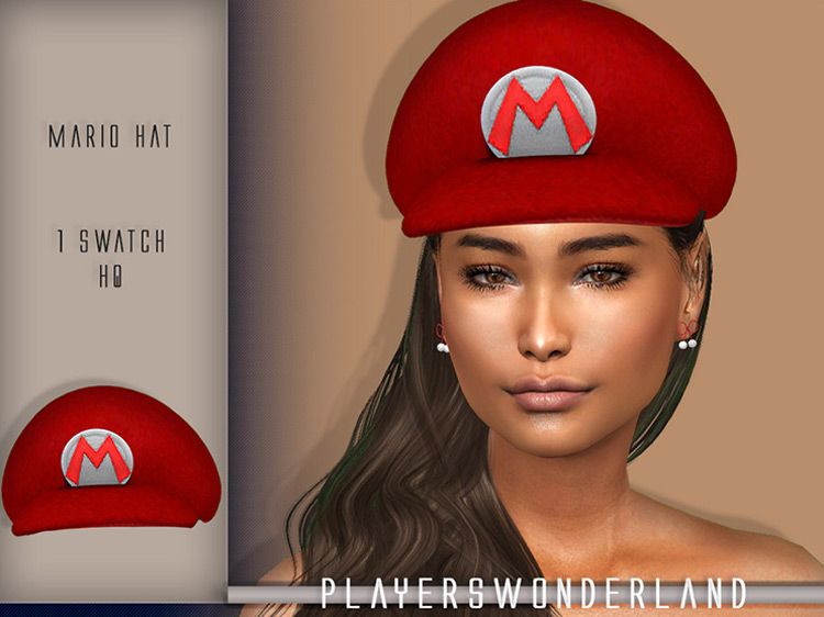 Textured Mario Hat for Sims 4