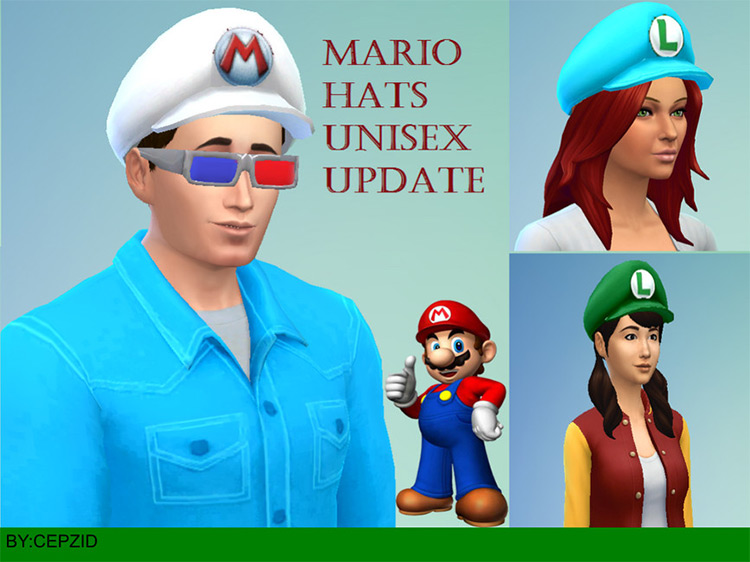 Super Mario Hat Collection Sims 4 CC