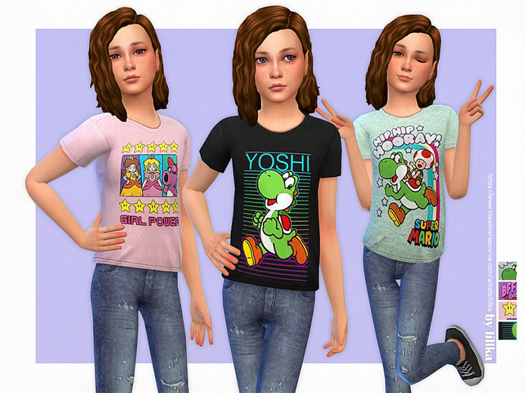 Super Mario T-Shirt Collection for Girls Sims 4 CC