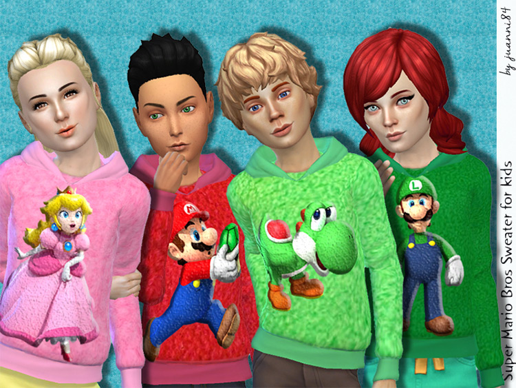 Super Mario Bros. Sweaters for Kids Sims 4 CC