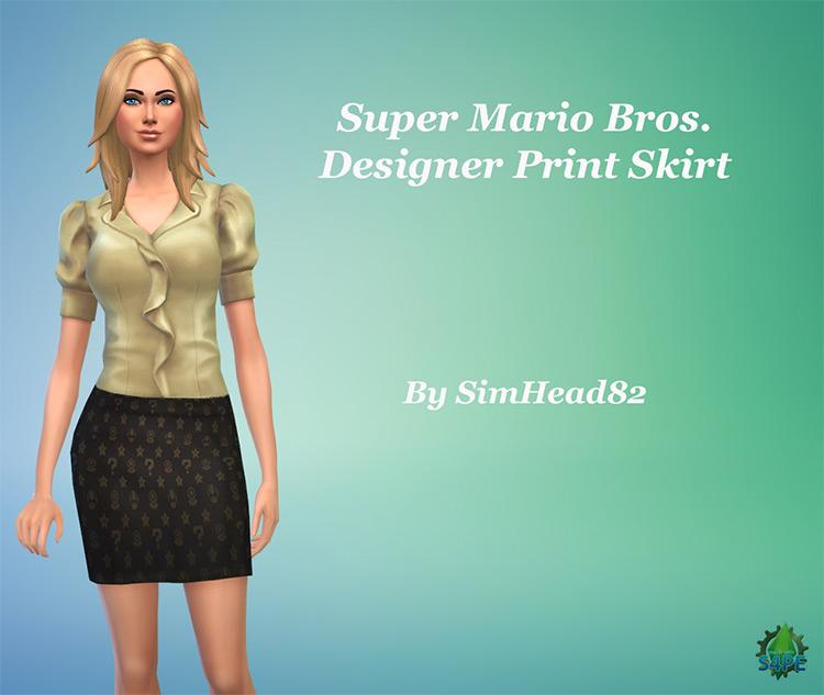 Super Mario Bros. Designer Print Skirt Sims 4 CC