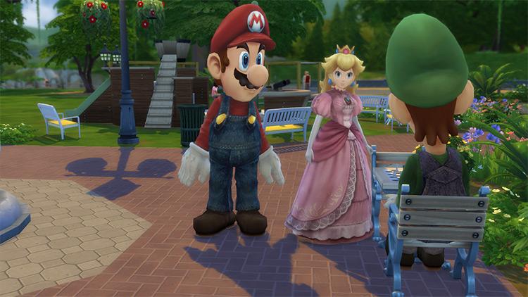 Mario, Luigi, and Peach Full-Body Costumes TS4 CC