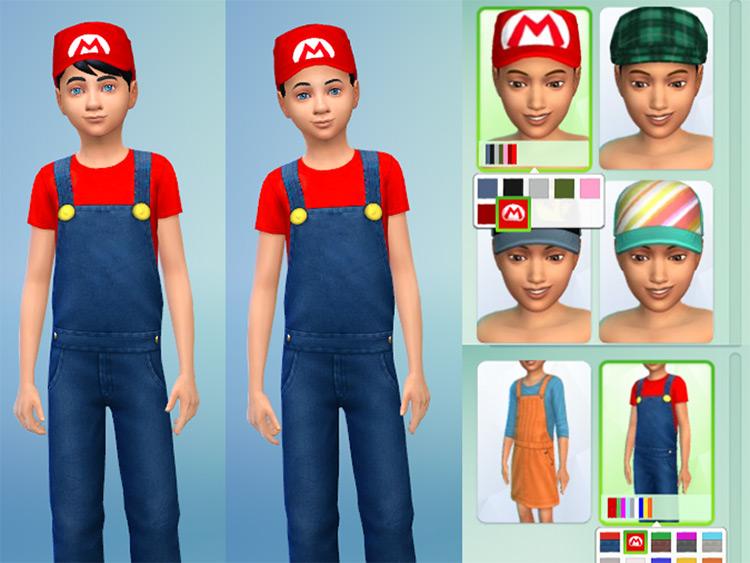 Children's Super Mario Costume for Sims 4