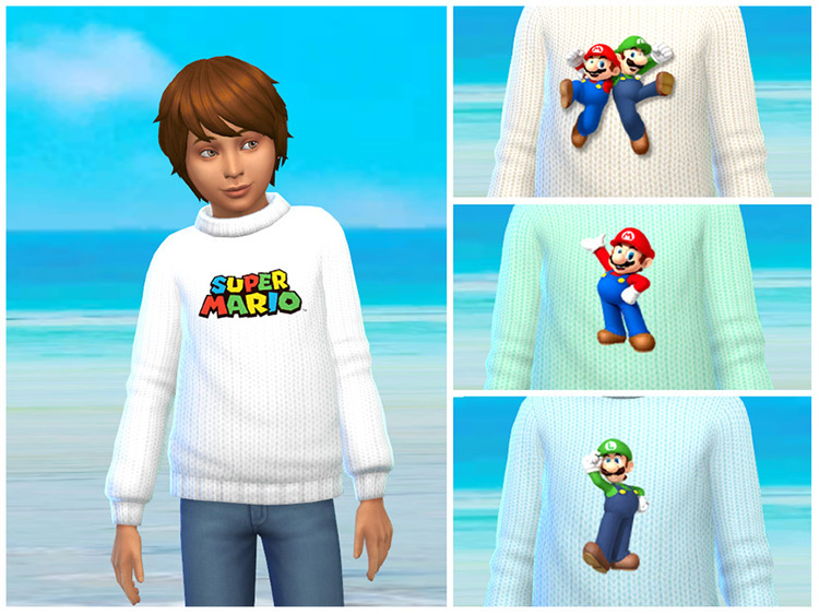 Super Mario Knit Sweater Collection TS4 CC