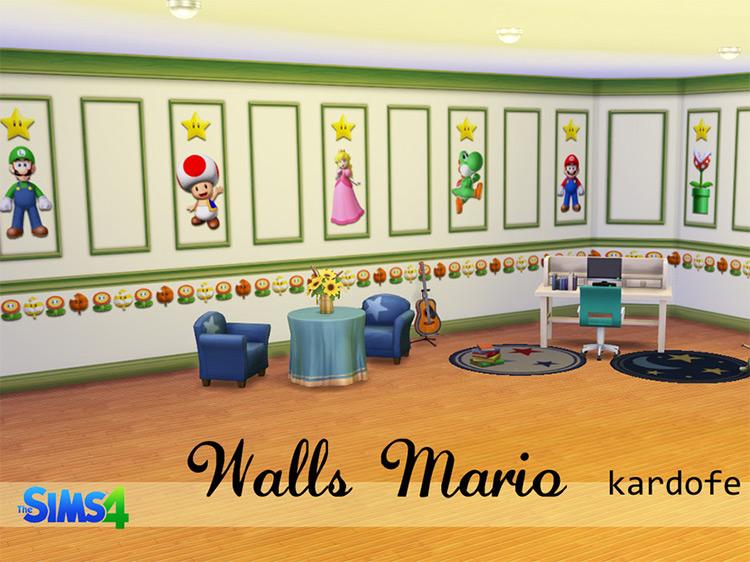Mario Wallpapers Sims 4 CC