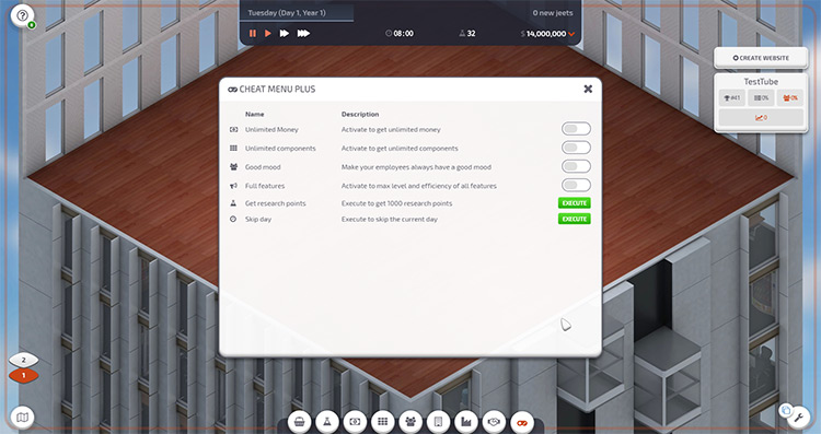 Cheat Menu Plus Startup Company Mod