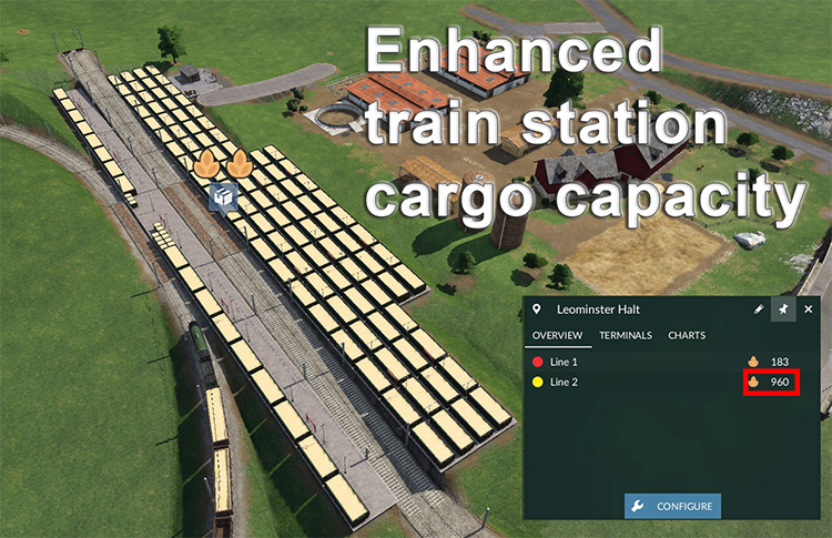 Enhanced Train Station Cargo Capacity mod