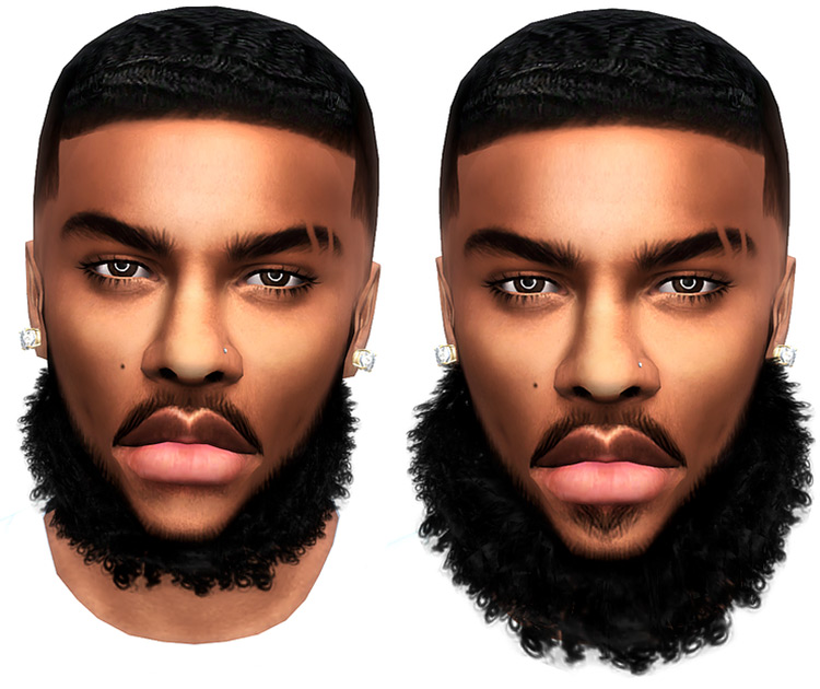 Curly Beards Sims 4 CC screenshot