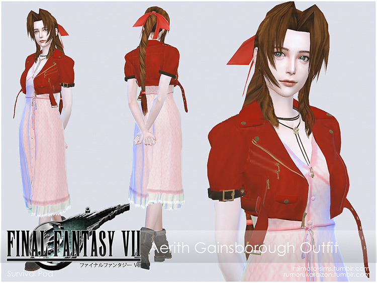 FFVII Aerith Outfit and Poses TS4 CC