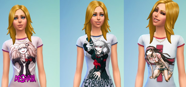 Danganronpa tshirts anime in The Sims 4