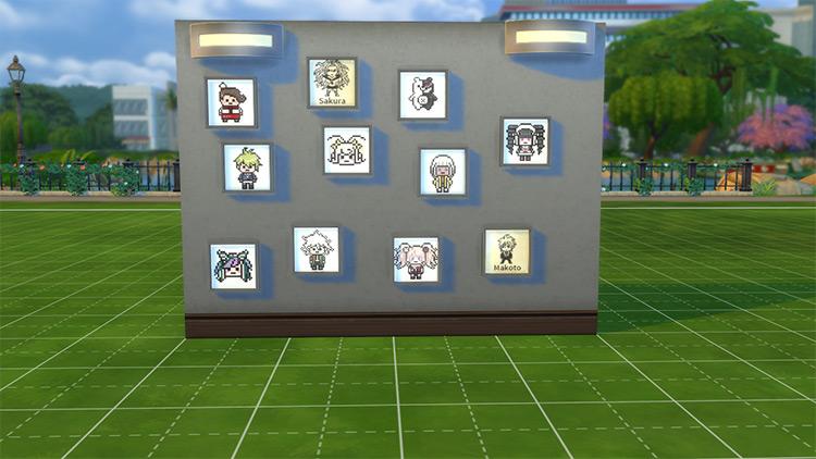 Danganronpa Dorm Room Pixel Nameplates Sims 4 CC