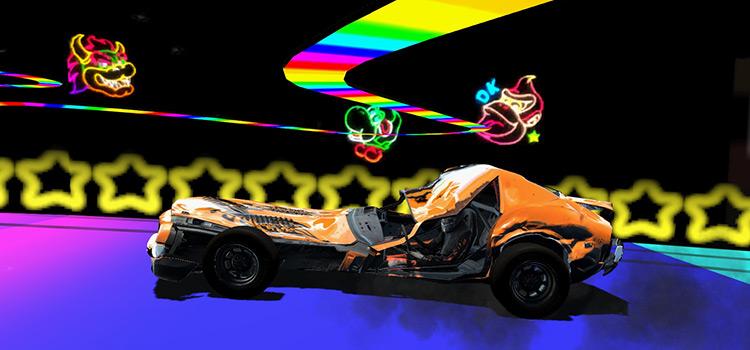 Wreckfest N64 Rainbow Road Mod