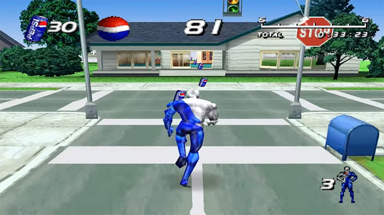 Pepsiman PS1 gameplay screenshot