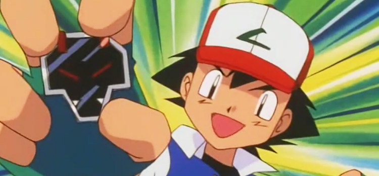 Ash with the Rising Badge - Pokemon Anime