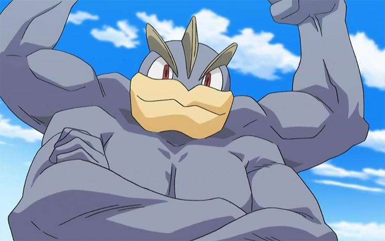Machamp Pokemon posing - anime screen