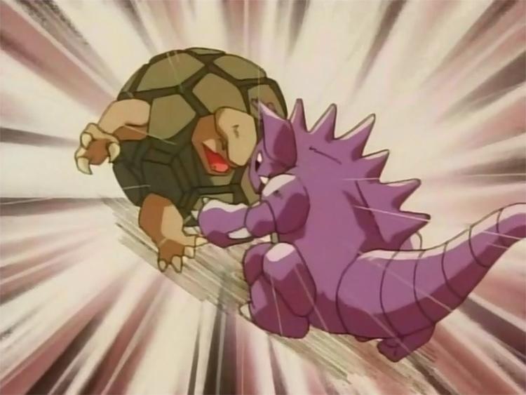 Nidoking battling a Golem - Pokemon Anime